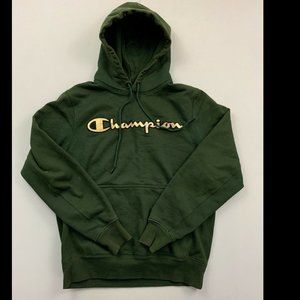 Champion Men's Green Long Sleeve Hoodie Medium